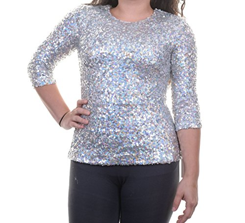 French Connection Women's Sequined 3/4 Sleeves Pullover Top, Silver, 4 (Sequined 3/4 Sleeve Top)