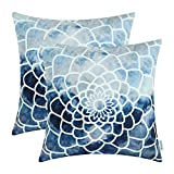 CaliTime Pack of 2 Cozy Fleece Throw Pillow Cases Covers for Couch Bed Sofa, Manual Hand Painted Print Colorful Dahlia Compass, 18 X 18 Inches, Navy