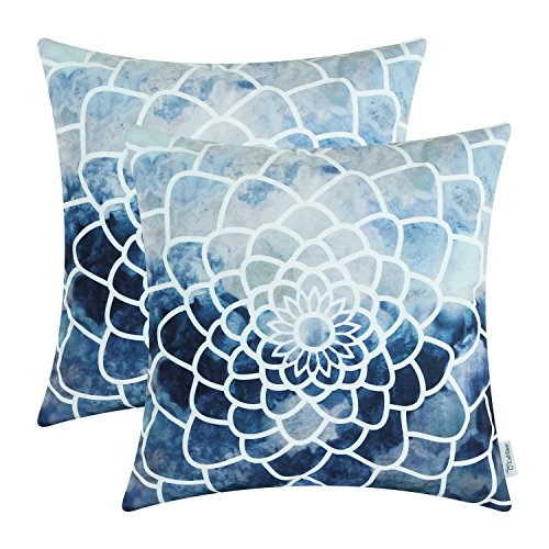 Pack of 2 CaliTime Cozy Fleece Throw Pillow Cases Covers for Couch Bed Sofa, Manual Hand Painted Print Colorful Dahlia Compass, 18 X 18 Inches, Navy (Bed For Pillows Accent Blue)