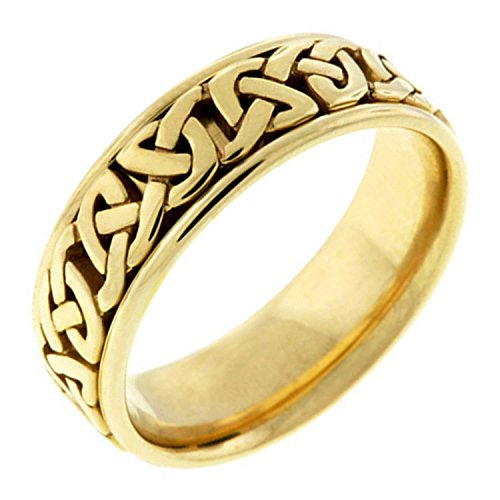 18K Yellow Gold Celtic Love Knot Women's Comfort Fit Wedding Band (7mm) Size-6.5c1