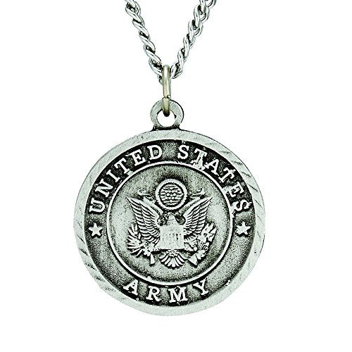 Pewter United States Army Medal with Saint Michael Back, 1 Inch