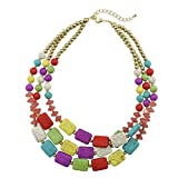 Bocar Statement Strand Turquoise Colorful Chunky Necklace for Women Gifts (NK-10268-mix)