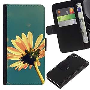 A-type (Sun Summer Flower Field Yellow Blue) Colorida Impresión Funda Cuero Monedero Caja Bolsa Cubierta Caja Piel Card Slots Para Apple Apple (4.7 inches!!!) iPhone 6 / 6S