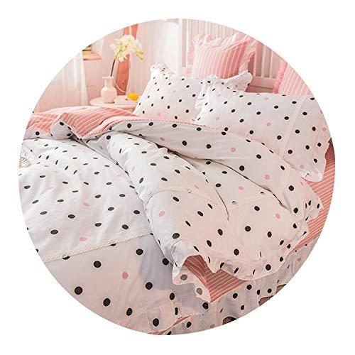 (Princess Style Pure Cotton 3 4 Pcs Bedding Set Duvet Cover Bed Sheet Pillowcases Pink Little Flower Leaf Blue Color Soft Feeling,07,Queen 4pcs 200X230cm)