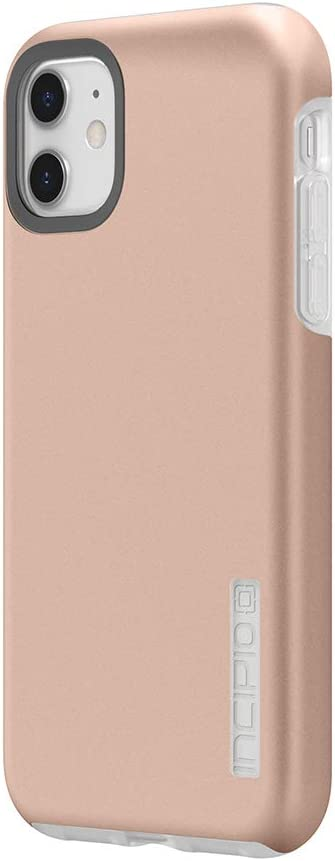 Incipio DualPro Dual Layer Case for Apple iPhone 11 with Flexible Shock-Absorbing Drop-Protection - Iridescent Rose Gold/Frost