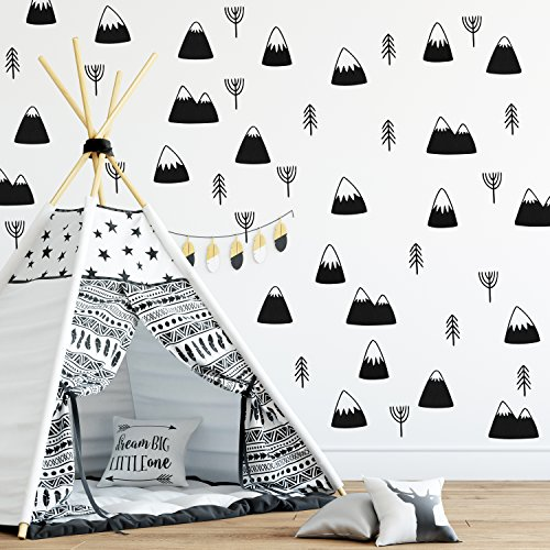 The Boho Design WALL VINYL ROUND MOUNTAINS and TREES DECAL DECOR NURSERY. Adhesive unique mountain & tree stickers for Kids. Baby Nordic mountain, trees, pines Bedroom Decoration