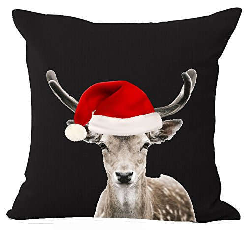 Funny Lovely Animals Abstract Adorable Deer Elk Wearing Red Christmas Hat Cotton Linen Throw Pillow Case Personalized Cushion Cover NEW Home Office Indoor Decorative Square 18 X 18 Inches
