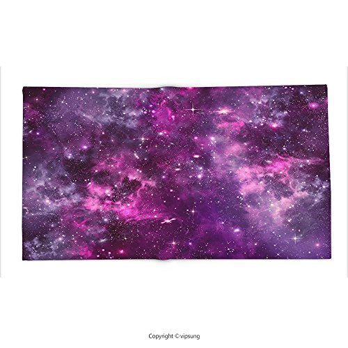 Custom printed Throw Blanket with Purple Decor Collection Nebula Gas Cloud Deep Dark in Outer Space with Star Clusters Galaxy Infinity Solar Sky Print P Super soft and Cozy Fleece Blanket by vipsung