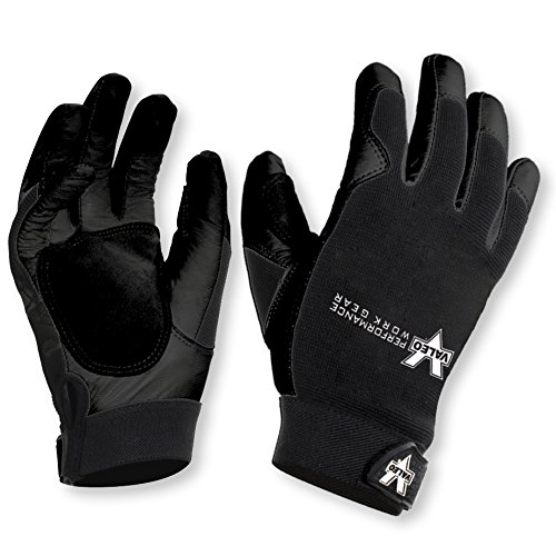 Valeo Industrial V257 Leather All-Purpose Utility Work Gloves with Stretch Back, VI3734, Pair, Black, Large (Glove Stretch Dive)