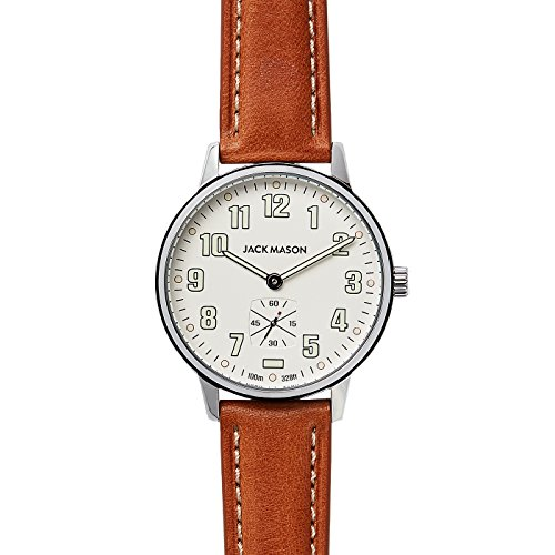 Jack Mason Men's Watch Field Sub Second 38mm SS White Dial Tan Leather Strap