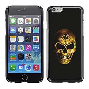 GOODTHINGS Funda Imagen Diseño Carcasa Tapa Trasera Negro Cover Skin Case para Apple Iphone 6 - bling del oro del cráneo de la muerte negro vicioso