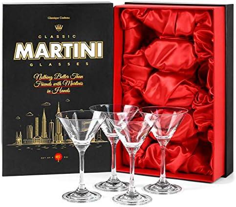 Small 5 oz Crystal Martini, Manhattan, Cosmopolitan Cocktail Glasses for 4 oz Classic Bar Drinks | Set of 4 | Elegant Long Stemmed Drinking Glassware | Mini Four Piece Gift Stemware
