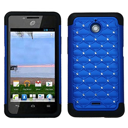 MyBat ASMYNA Huawei H881C (Ascend Plus) Luxurious Lattice Dazzling TotalDefense Protector Cover - Retail Packaging - Blue/Black]()
