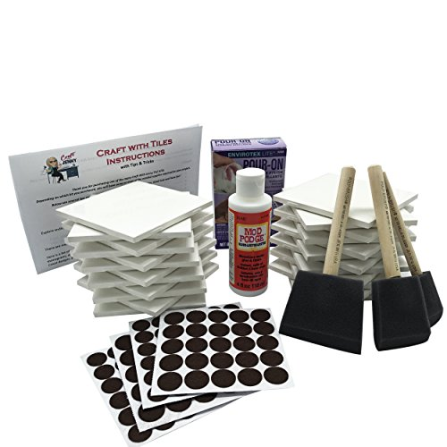 Coaster Tile Craft Kit, ULTIMATE Bundled Set w/ 24 White Ceramic Tiles 4
