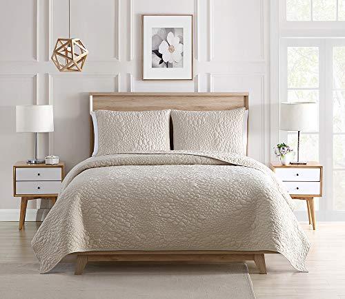 Bourina Bedspread Coverlet Set Beige - Pre-Washed Microfiber Ultra Soft Lightweight Oversized 3-Piece Quilt Set Queen, Beige