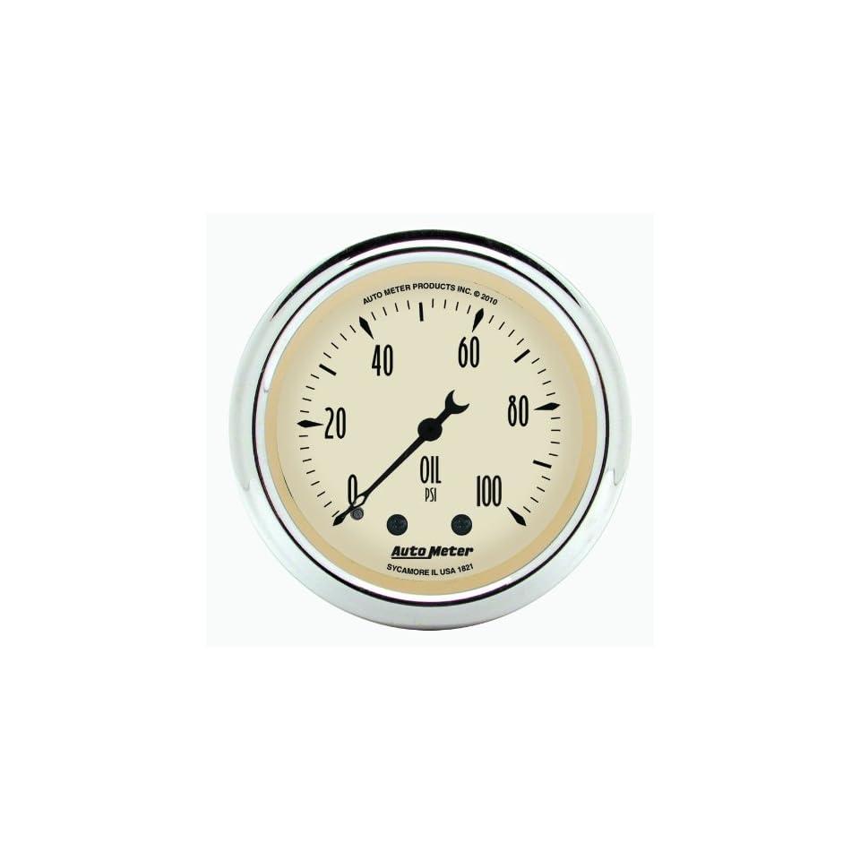 Auto Meter 1821 Antique Beige 2 1/16 0 11 PSI Mechanical Oil Pressure Gauge
