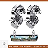 Platinum PUBG Mobile Metal Gaming Button Dual Triggers Sensitive Aim Assist Fire Shooter Star Navigate Controller for Android iOS iPhones (Silver)