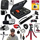 "Xtech IDEAL ACCESSORIES KIT for GoPro HERO4 Hero 4 Includes: Head Strap Mount, 16GB High Speed Memory Card + High Capacity AHDBT-401 Battery + Quick Dual Charger + 12"" inch Highly Flexible Tripod + Custom Large size Case, Hand Held Monopod + Floating Fo"