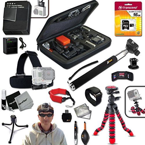 "Xtech IDEAL ACCESSORIES KIT for GoPro HERO4 Hero 4 Includes: Head Strap Mount, 16GB High Speed Memory Card + High Capacity AHDBT-401 Battery + Quick Dual Charger + 12"" inch Highly Flexible Tripod + Custom Large size Case, Hand Held Monopod + Floating Fo by Xtech"