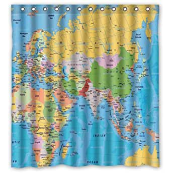 Custom Unique Design World Map Waterproof Bathroom Polyester Fabric Shower Curtain