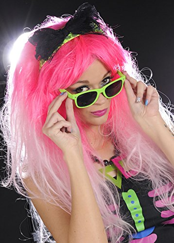 [Womens Deluxe Pink 80s Wig with Headband] (1980s Dress)
