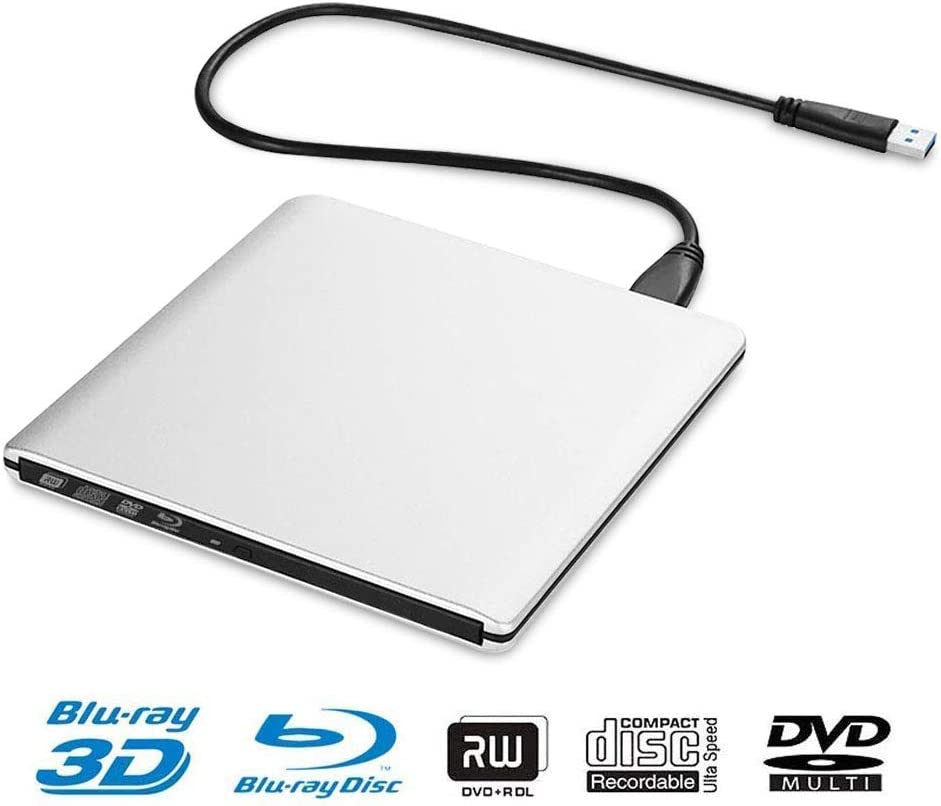 External DVD CD Blu-ray Drive USB3.0 BD 3D Blu-ray Player Portable DVD/CD-ROM BD-ROM Burner. High-Speed Data Transfer, Compatible with PC Laptops Desktops(Silver.)