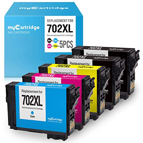 myCartridge Re-Manufactured Ink Cartridge Replacement for Epson 702XL 702 XL T702XL T702 (2 Black, 1 Cyan, 1 Magenta, 1 Yellow, 5-Pack)