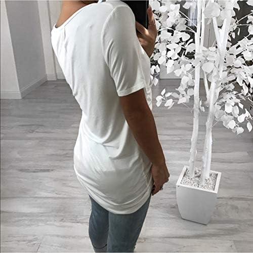 Yutila damska koszulka z krÓtkim rękawem na lato, wycięcie w kształcie litery V, styl casual, koszulka z krÓtkim rękawem: Odzież