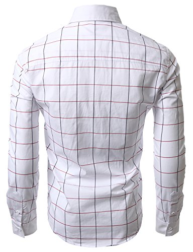 Doublju Mens Casual Slim Fit Plaid Shirts