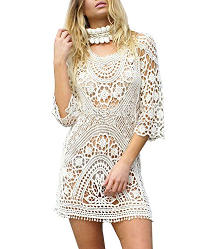 Yonala Womens White Lace Hollow Out Bikini Swimsuit Cover Ups Beige One Size
