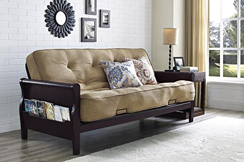 """Arm Futon With 8"""" Coil Mattress, Wood, Living Room, Tan/Espresso Color, Metal Futon with Cushions, Convertible to Full Size Sleeper, Bundle with Our Expert Guide with Tips for Home Arrangement from AB-Land"""