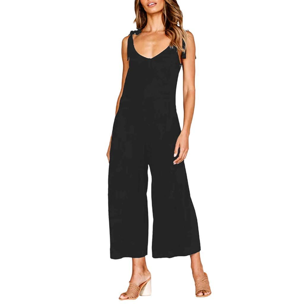 GWshop Ladies Fashion Elegant Jumpsuit Women Jumpsuit Holiday Wide Leg Playsuit Ladies Summer Beach Rompers Black S