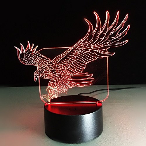 Etzon Technologies 3D Illusion LED Lamp Table Night Light 7 Color Change LED Desk Light with Flat Acrylic Panel & ABS Base & USB Power for Holiday Gifts Western Art Eagle Decor gifts (Eagle)