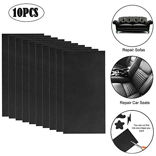 Leather Repair Patch 10 Pieces Leather Repair Kit Black Leather Adhesive Patch First-aid for Sofa, Car Seat, Handbag 4x8