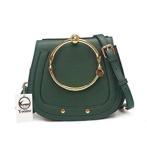 Yoome Elegant Rivets Punk Style Circular Ring Handle Handbags Cute Lune Satchel Round Bracelet Wristlet Crossbody Bags For Girls - Brown.lune - Upgraded Version Green