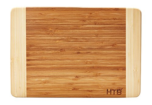 HTB 100% Bamboo Cutting Board,Thick Bamboo For Food Prep, Making Cocktails or Serving Appetizers 03M Medium Prep Cutting Board