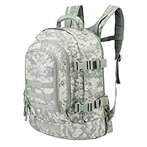 WolfWarriorX 3-Day Expandable Backpack with Waist Pack Large Rucksack Tactical Backpack Molle Assault Bag for Day Hiking, Camping, Climbing, Traveling (ACU)