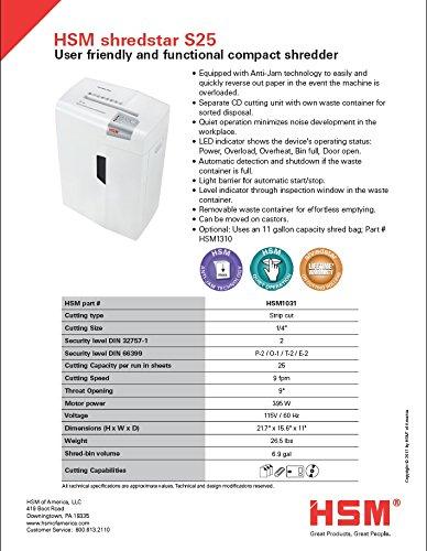 HSM shredstar S25 Strip-Cut Shredder; Shreds Up to 25 Sheets; 6.9-Gallon Capacity Shredder by HSM (Image #11)