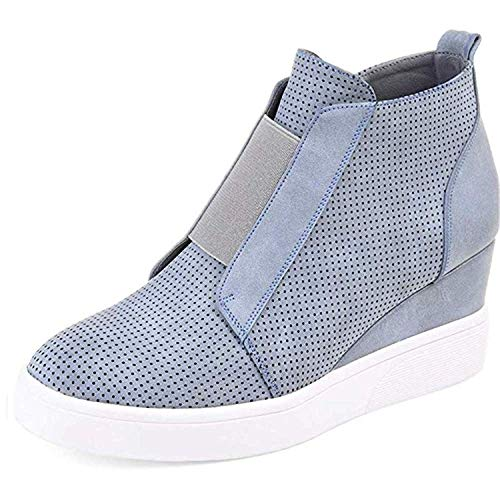 Wedge Sneakers Leather - Ermonn Womens Wedge Sneakers Fashion High Top Side Zipper Platform Booties Flat Shoes Light Blue