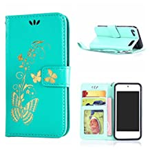 MOONCASE Touch 6 Case, Bronzing Butterfly Pu Leather Wallet Pouch Etui Flip Kickstand Case Cover for Apple iPod Touch 6th Bookstyle Folio [Shock Absorbent] TPU Case with Photo Frame Mint Green