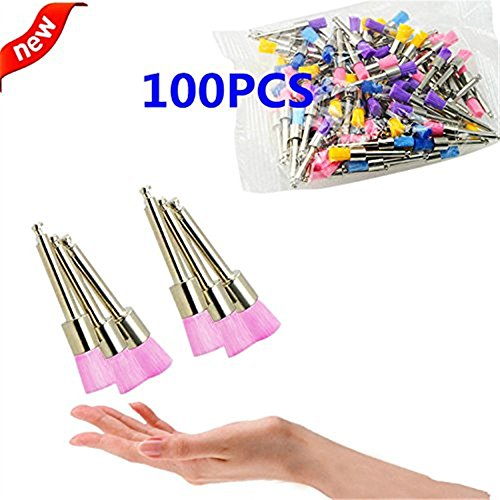 Prophy Brushes - 100 Pcs Teeth Whitening Color Nylon Latch Flat Polishing Polisher Prophy Brushes D-ental Prophy Brushes Toothbrush