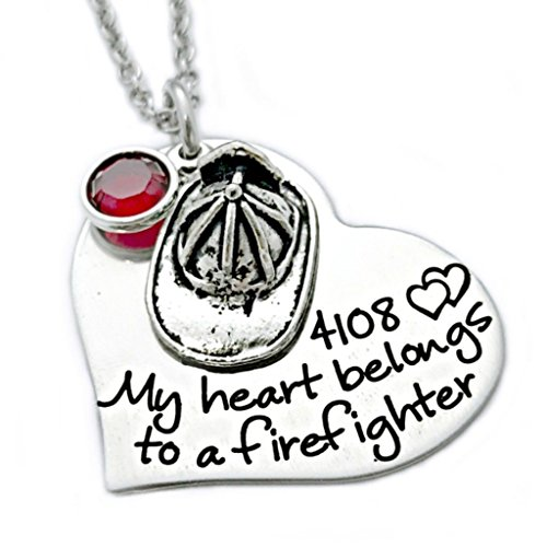 Firefighter Jewelry (Heart Belongs to a Firefighter Necklace - Personalized Jewelry - 1106)