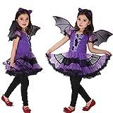 CYCTECH Halloween Toddler Costume Dress+Hair Hoop+Bat Wing Clothes Set (110, Purple)