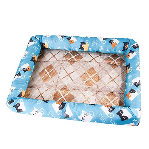 Amazon.com: GOGOMEOMEO Summer Pet Dogs Cats Rattan Mat ...