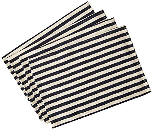 Max + Cazwell Navy Blue and White Striped Cotton Canvas Placemats, Machine Washable, Summer Coastal, Set of 4