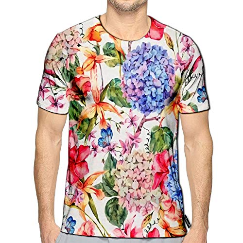 (T-Shirt 3D Printed Vintage Floral with Hydrangeas Orchids Wildflowers and Butter)