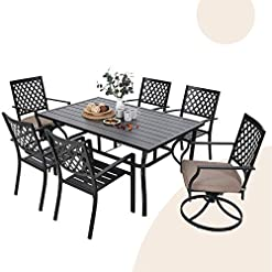"""Garden and Outdoor MFSTUDIO 7-Piece Metal Outdoor Patio Dining Set with 6 Armrest Chairs and 1 Steel Rectangular Table with 1.57"""" Umbrella… patio dining sets"""
