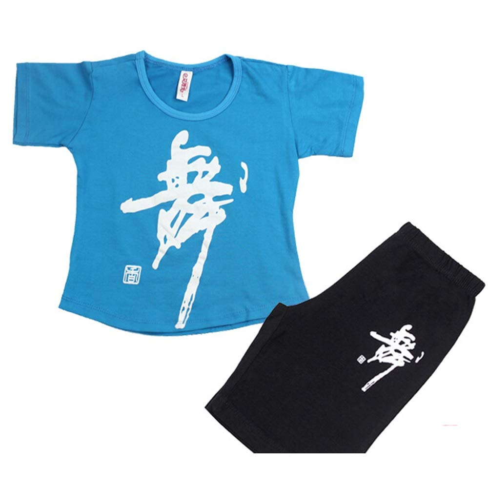 E Jian E& Vêtements de Danse pour Enfants col Rond Costume Filles Coton Exercice vêtements à Manches Longues été Pantalon Latin Complet des Costumes pour Hommes 140-150cm