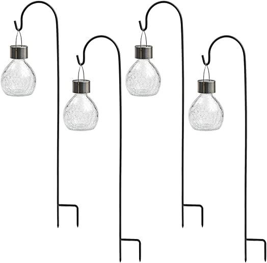 Sterno Home GL42076 4-Pack Crackled Glass Ornament w Shepard Hook Solar Light, Stainless Steel