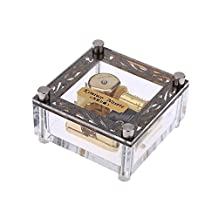 AMENL Acrylic Cubic Musical Box Windup Music Box with Melody Tag on Top 18 Notes Gold-plated Movement, Different Melody Available (Let It Go from Frozen)